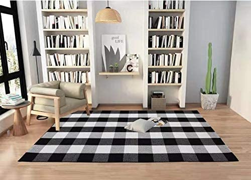 Buffalo Check Rug Black and White Plaid Rugs Cotton Hand-Woven Checkered Carpet Washable Braided Kitchen Rugs,Mat, Doormat Hand-Woven Checkered Rug 35x 59, Buffalo Check C