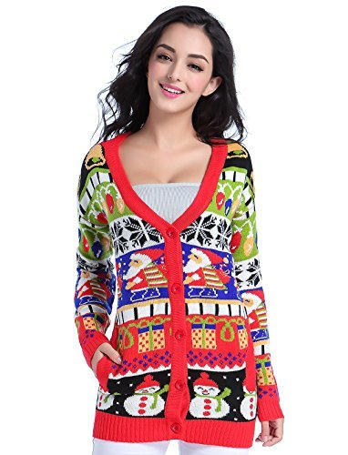v28 Ugly Christmas Sweater for Women Vintage Funny Merry Knit Cardigan Sweaters (Large, ModelA)
