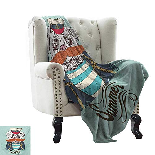 Anyangeight Pug,Weave Pattern Extra Long Blanket,Captain Dog with Hat Mustache Jacket and Shirt Cute Animal Funny Image 60