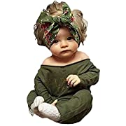 Newborn Infant Baby Girls Clothes Long Sleeve Off Shoulder Romper Jumpsuit (S(0-6months))