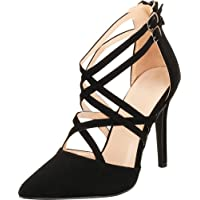 Cambridge Select Women's Pointed Toe D'Orsay Crisscross Strappy Caged Stiletto High Heel Pump