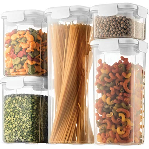 Airtight Food Storage Containers With Lids [5 Piece] BPA Free Plastic Kitchen Pantry Storage Containers - Dry Food Storage Containers Set For Pasta, Cereal, Flour, Sugar, Coffee, Rice, Nuts, Snacks,