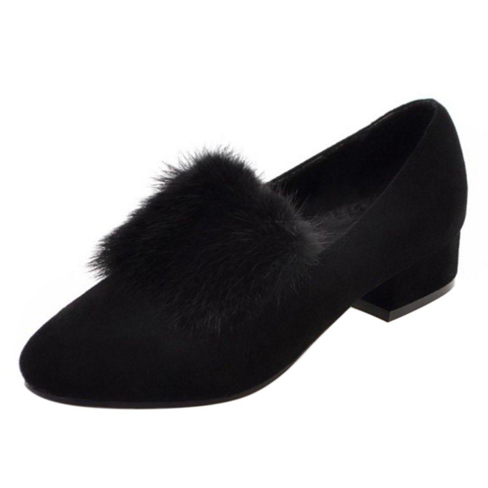 RAZAMAZA Damen Herbst Niedrige Court Schuhe Ohne Verschluss Black Size 34 Asian ZzlrIg9WrL