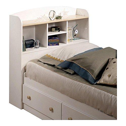 Maple Finish Twin Headboard - South Shore Twin Bookcase Storage Headboard in Pure White Finish