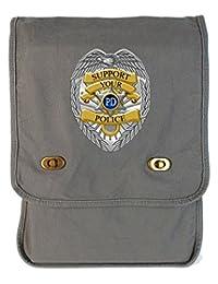Tenacitee Support Police Badge Smoke Grey Canvas Field Bag