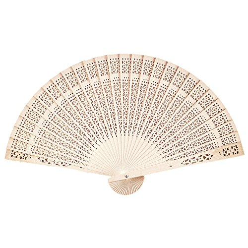 WishGive Chinese Sandalwood Scented Wooden Openwork Personal Hand Held Folding Fans for Wedding Decoration (10 - Scented Sandalwood Fan