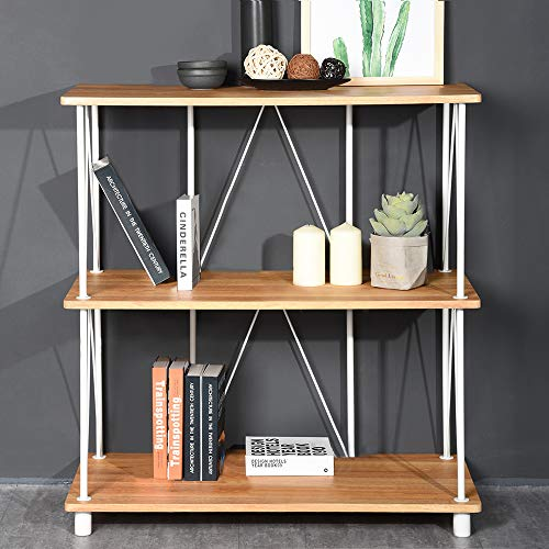 Aingoo 3 Tier Bookshelf Deep Modern Open Dispaly Rack Steel Frame MDF Bookcase Wooden Veneer Beige White 31.5