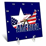 3dRose Alexis Design - America - American Map and Star, text The United States of America on blue - 6x6 Desk Clock (dc_270548_1)