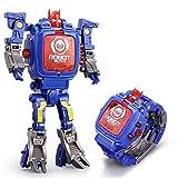 Electronic Toy Watch Children's Digital Watch Deformation Toys Kids Transformers Robot Digital Watch Toy Kid-Fest Fun Deformation Robot for Boy(Blue)