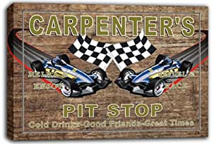 scpu1-1189 CARPENTER'S Pit Stop Car Racing Game Room Stretched Canvas Print Sign