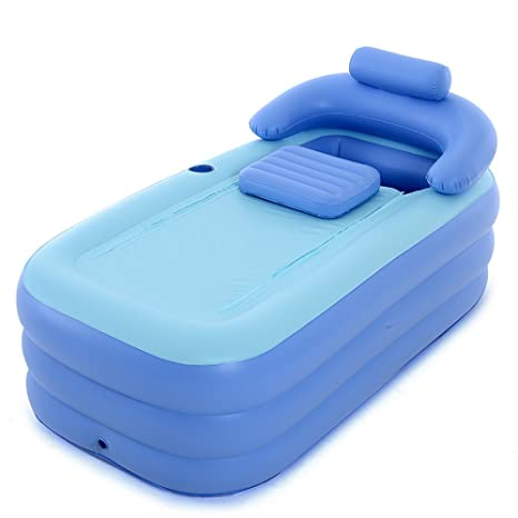 Mizii Aufblasbare Badewanne Erwachsene Falten Bad Bad Kinder Bathe Barrel  (blau, 160cm * 84cm * 64cm) ( Farbe : Blau )