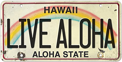 Hawaiian Painting - Pacifica Island Art 6in x 12in Vintage Hawaiian Embossed License Plate - Live Aloha