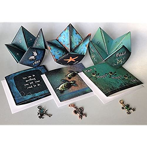 Frog, Pegasus, Sea Turtle Gift Sets - 3 Encouraging Joyful Greeting Card Gift Sets - Origami Game and Colorful Sales