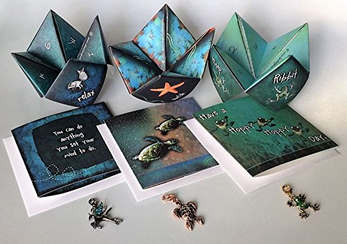 Gufts For Him - Smiling Wisdom - Frog, Pegasus, Sea Turtle Gift Sets - Encourage, Joyful, Console Greeting Cards - 3 Origami Games & Colorful Handmade Charms w Rhinestones - Encouragement, Sympathy and Happy Day