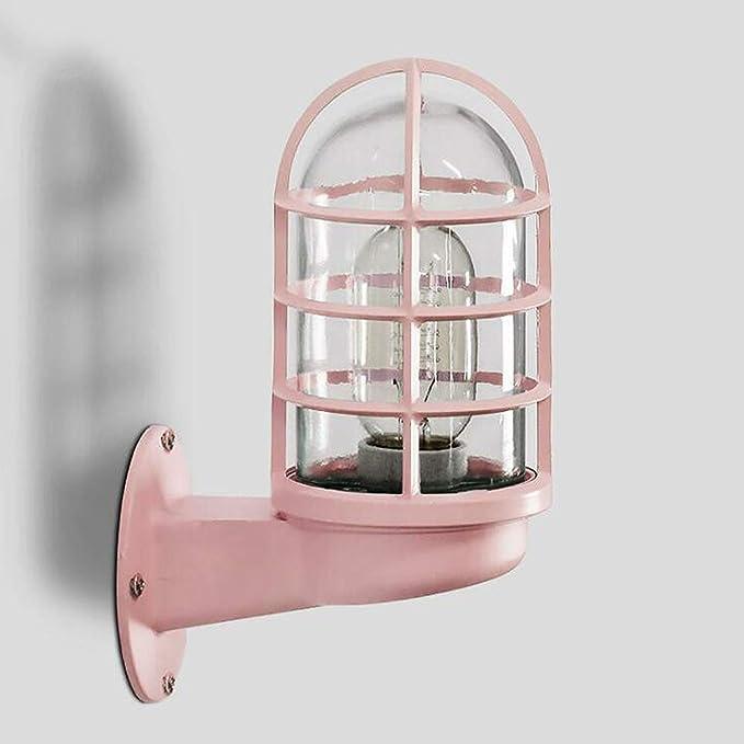 Lyghtzy® Retro Diseño industrial Jaula colorida Lámpara de pared con mampara Aplique con vidrio para sala de estar Baño Loft Garaje Puerta principal Patio trasero (Rosado): Amazon.es: Iluminación
