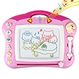 Tomons Magnetic Doodle Board, Musical Colorful Drawing Board with Light and Music , Erasable Sketching Pad for Toddlers, Music Toys for Writing Painting and Learning - Pink