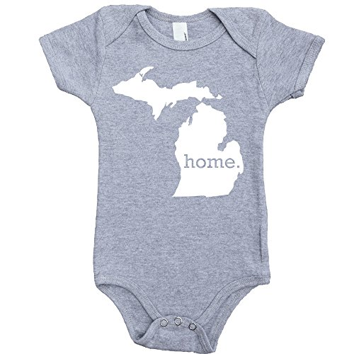 Homeland Tees Michigan Home Baby Bodysuit 12 Months Grey (City Livonia)
