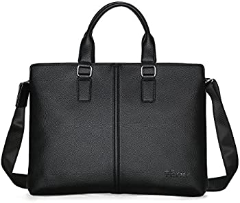 Yero Shoulder Expandable Leather Laptop Briefcase for Men