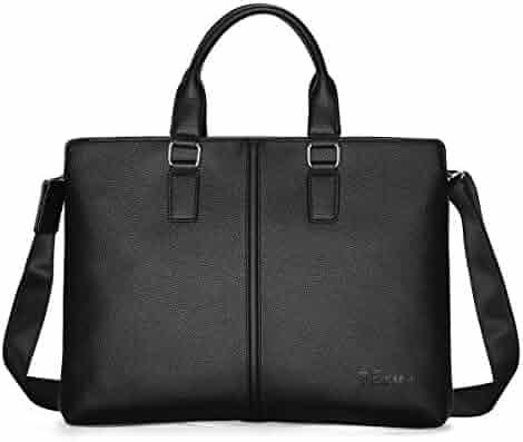 YERO Leather Briefcase for Men, Shoulder Leather Laptop Briefcase Business Office Bag Slim Expandable Briefcase Black