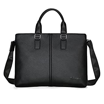 Business Mens Briefcase Soft Leather Laptop Briefcase for Lawyers Office Bag Slim Expandable Briefcases Professional Messenger Bags Black