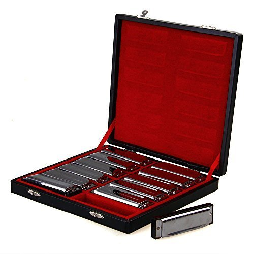 Swan Harmonica Set of 12. 10 Hole, 20 Tone  Diatonic Blues Harp Harmonicas -  Plays in 12 Keys. Chromed Silver & Black. Comes with Luxury Gift Box.