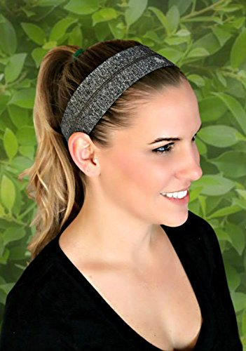 RAVEbandz Fashion Headbands (HEATHER BLACK GREY) - Non-Slip Silicone Lined Sports & Fitness Hair Bands for Women and (Mouse Grey Rubber)
