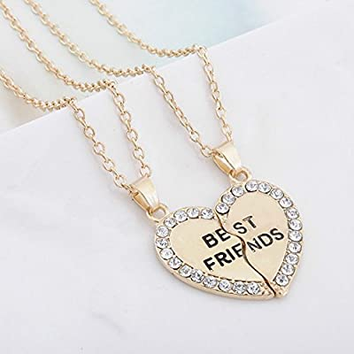 Qinlee Necklace for Women, Couple Heart Best Friend Fashion Elegant Necklace Pendant Crystal Rhinestone Woman Chain Necklace(Gold): Home & Kitchen
