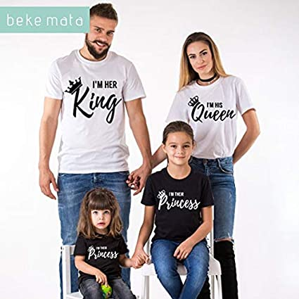 50838e35f6 Image Unavailable. Image not available for. Colour: BEKE MATA Family  Matching Clothes 2018 Summer New Fashion Father Son T-Shirt King Queen