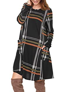 ceee406deb7e4 Poulax Women s Casual Color Block Long Sleeve Loose Basic Swing Pocket  Shift Dress in Plaid