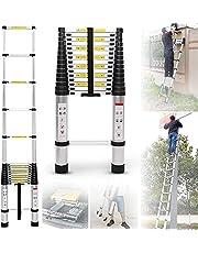 XnalLKJ Folding Ladder Aluminum Telescopic Extension Ladders with Spring Loaded Locking Mechanism, 4.5FT-24FT Aluminum Telescoping Ladder Roof, 330 Pounds Capacity