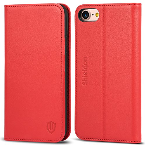 (SHIELDON iPhone 8 Case, iPhone 8 Wallet Case, Genuine Leather iPhone 7 Flip Book Design with Kickstand ID Card Slot Magnetic Closure TPU Shockproof Case Compatible with iPhone 7 8 - Red )