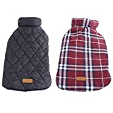 Kuoser Cozy Waterproof Windproof Reversible British style Plaid Dog Vest Winter Coat Warm Dog Apparel for Cold Weather Dog Jacket for Small Medium Large dogs with Furry Collar (XS - 3XL ),Red S