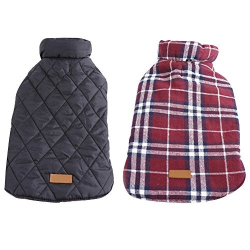Kuoser Cozy Waterproof Windproof Reversible British style Plaid Dog Vest Winter Coat...