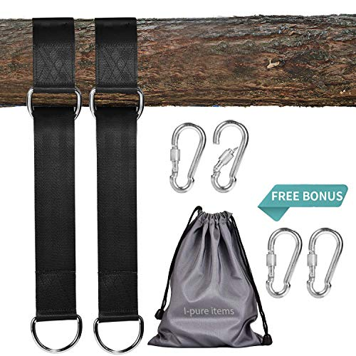 I-pure items Hammock Straps (5ft) – 2 PCS Tree Swing Straps Hanging Kit Holds 2200 LB with 4 Heavy Duty Carabiners…