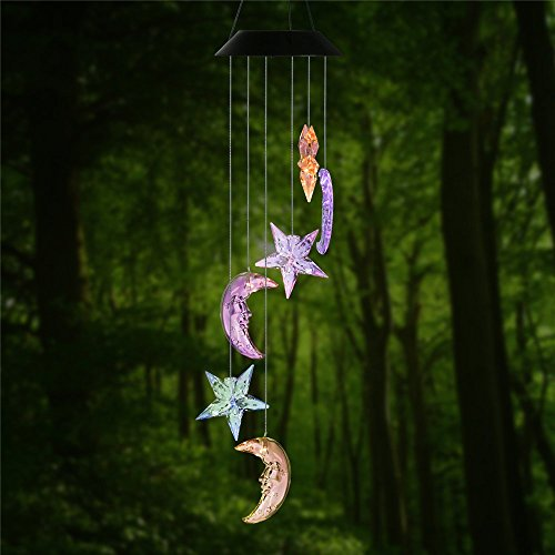 Clear Star & Moon LED Solar Wind Spinner Mobile Light Color Changing - Moon Chime
