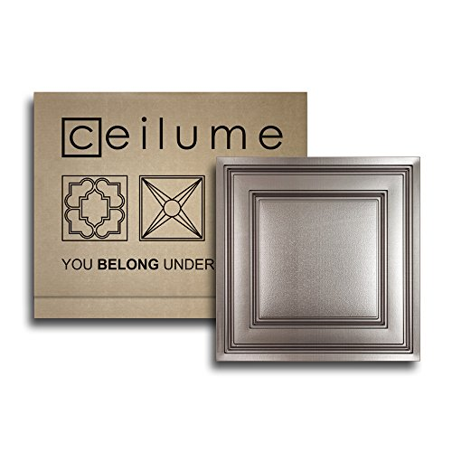 "10 pc - Ceilume Stratford Ultra-Thin Feather-Light 2x2 Lay In Ceiling Tiles - For Use In 1"" T-Bar Ceiling Grid - Drop Ceiling Tiles (Tin)"