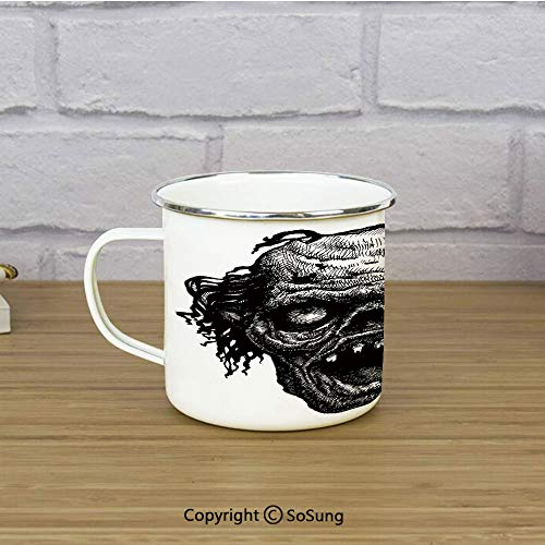 Halloween Enamel Camping Mug Travel Cup,Zombie Head Evil Dead Man Portrait Fiction Creature Scary Monster Graphic,11 oz Practical Cup for Kitchen, Campfire, Home, TravelBlack Dark Grey -