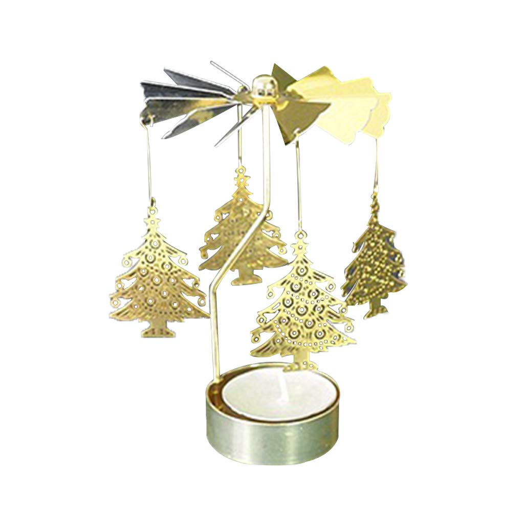 Iusun Tabletop Christmas Candle Spinning Rotary Metal Carouse Tea Light Xmas Decoration Creative Supplies Gifts Bedroom Desk Candle Holder Hanging Ornament Bonsai for Home Office (M,Iron + Aluminum)