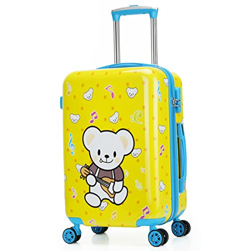 Children's Luggage Kids Luggage Case18'' 19'' 20'' (20inch, Yellow guitar bear) by TOKERS