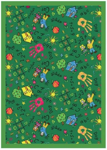 Joy Carpets Playful Patterns Children s Scribbles Area Rug, Green, 7 8 x 10 9