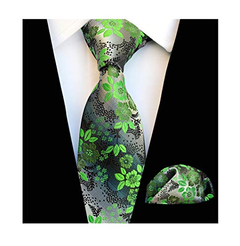 Men's Green Grey Textured Party Silk Jacquard Woven Self Ties Set for Birthday Presents