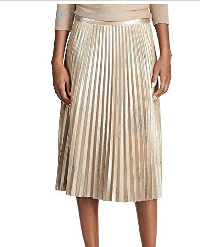 Chaps Metallic Gold Faux-Suede Pleated Midi Skirt (12) -