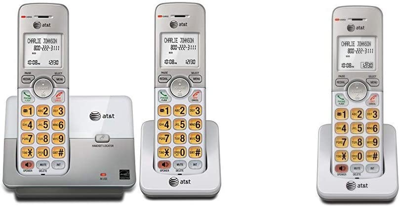 AT&T EL51203 DECT 6.0 Phone with Caller ID/Call Waiting, 2 Cordless Handsets, Silver & EL50003 Accessory Cordless Handset, White