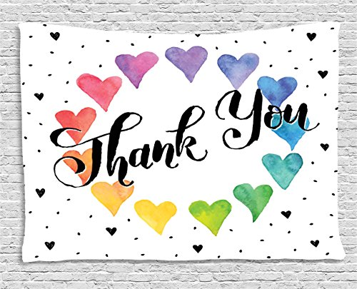 Romantic Decor Tapestry by Ambesonne, Thank You Note with Rainbow like Colored Round Made from Hearts Cute Image, Wall Hanging for Bedroom Living Room Dorm, 80 W X 60 L - Hearts Rainbow Colored