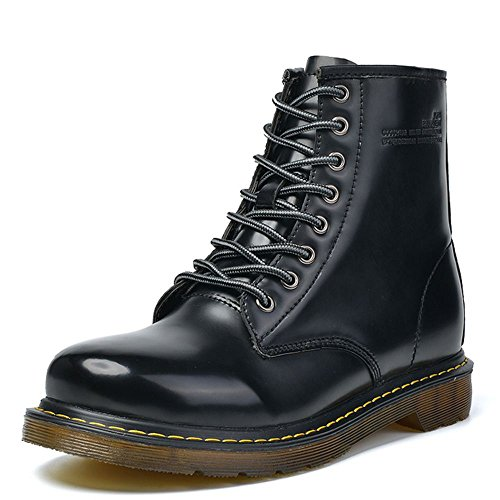 Taoffen Mens Lace Up Riding Boots Combat Stivaletti Alla Caviglia Nero