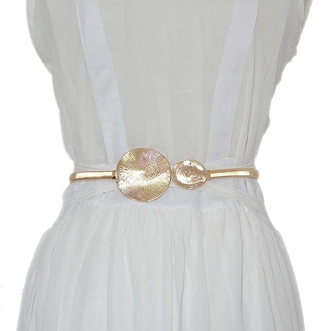 d3197a39 Cinturón elástico para mujer, doble redondo, delgado, con correa para  cinturón, para