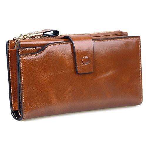 Jack&Chris Women's RFID Blocking Luxury Wax Genuine Leather Clutch Wallet Card Holder Organizer Ladies Purse, WB301 (Brown)