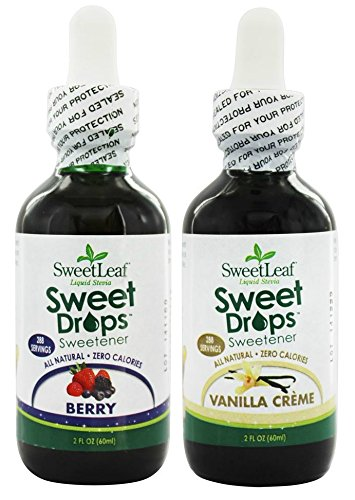 SweetLeaf Berry Sweet Drops Liquid Stevia and Vanilla Creme Sweet Drops Liquid Stevia Bundle with Organic Stevia Leaf Extract, Vanilla Extract, and Strawberry and Berry Concentrates, 2 oz. each ()