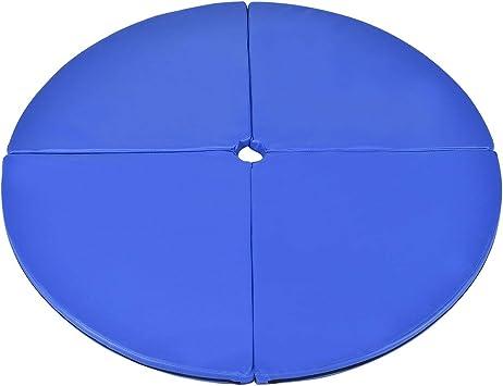 Rembourrage en EPE Diam/ètre 150 CM /Épaisseur 5 CM Bleu//Rose DREAMADE Tapis de Pole Dance Fitness Gymnastique Tapis de Protection en PVC avec 4 Morceaux Pliables Rond