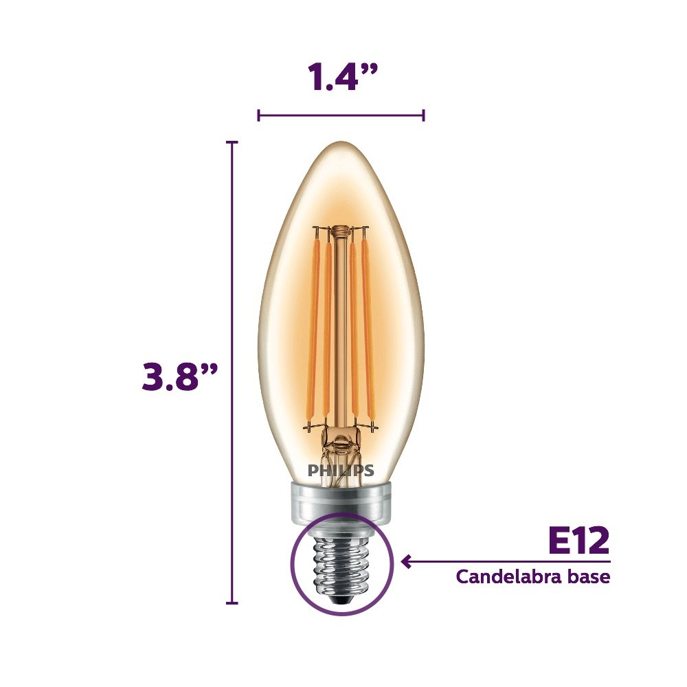 Philips LED B11 Warm Glow Dimmable 300-Lumen, 2700-2200 Kelvin, 4-Watt (40-Watt Equivalent) Classic Glass Candle Light Bulb with E12 Candelabra Base, ...